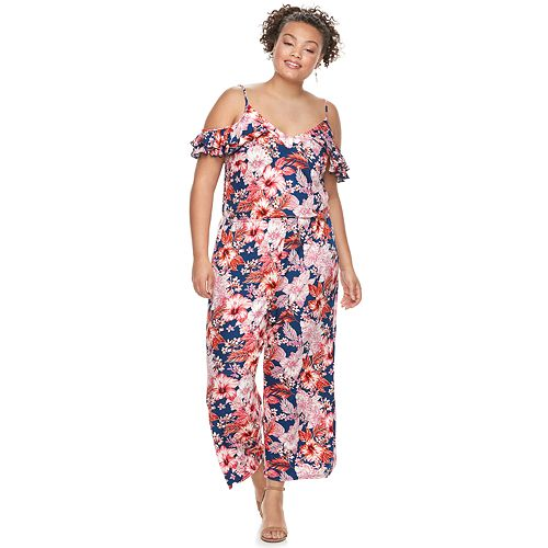 Juniors' Plus Size Wrapper Floral Wide-Leg Jumpsuit