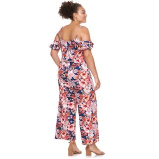 Juniors' Plus Size Wrapper Floral Wide-Leg Jumpsuit