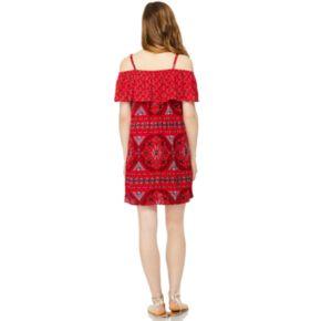 Juniors' Wallflower Gauze Off-the-Shoulder Dress