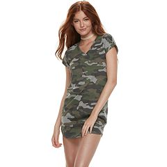 Juniors' Almost Famous Shirttail Camo Print Dress