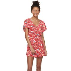 Juniors' Trixxi Button Front Short Sleeve Romper