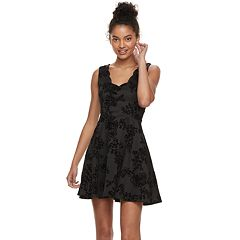 Juniors' Trixxi Flocked Scallop Skater Dress