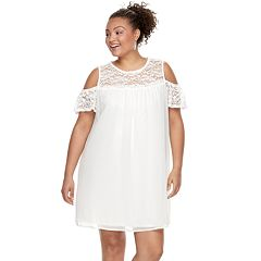 Juniors' Plus Size Lily Rose Lace Cold-Shoulder Shift Dress