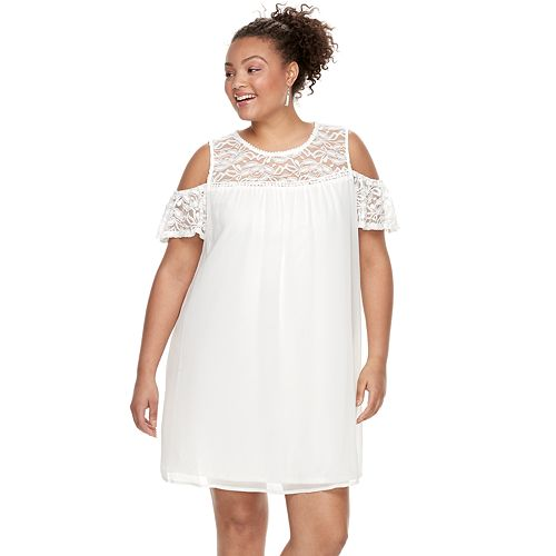 Juniors\' Plus Size Lily Rose Lace Cold-Shoulder Shift Dress