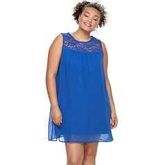 Juniors' Plus Size Lily Rose Lace-Yoke Shift Dress