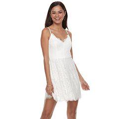 Juniors' Trixxi Keyhole Front Lace Skater Dress