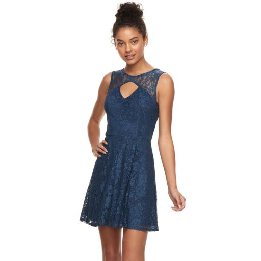 Juniors' Trixxi Cutout Front Lace Skater Dress