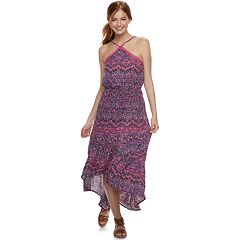 Juniors' Love, Fire Y-Neck High-Low Maxi Dress