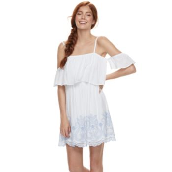 Juniors' Lily Rose Embroidered Off-the-Shoulder Shift Dress