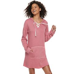 Juniors' SO® Lace-Up Hooded Popover Dress