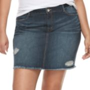 Juniors' Plus Size Rewash Distressed Dark Wash Mini Jean Skirt
