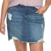 Juniors' Plus Size Rewash Distressed Medium Wash Mini Jean Skirt