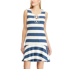 Women's Chaps Striped Lace Up Drop-Waist Dress