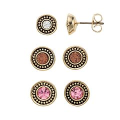 Napier Simulated Crystal Button Stud Earring Set