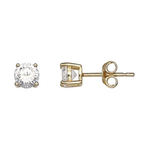 PRIMROSE 18k Gold Over Silver Cubic Zirconia Stud Earrings