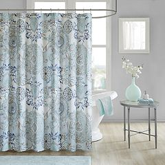 Madison Park Loleta Cotton Printed Shower Curtain