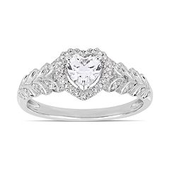 10k White Gold Lab-Created White Sapphire & Diamond Accent Heart Ring