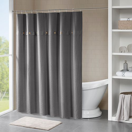 Madison Park Rianon Waffle Weave Textured Shower Curtain
