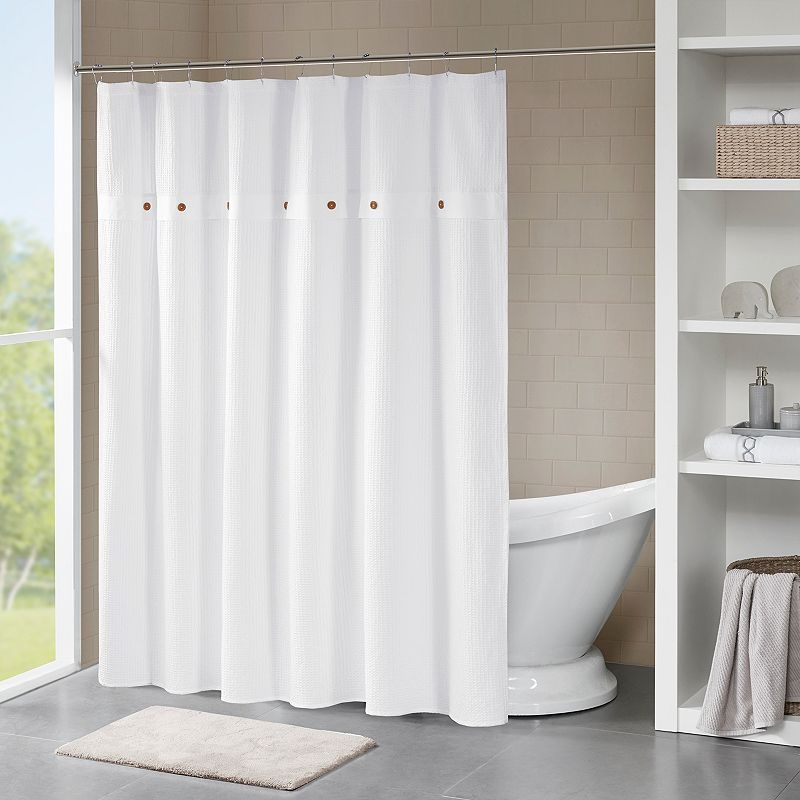 Madison Park Rianon Waffle Weave Textured Shower Curtain. White. 72X72