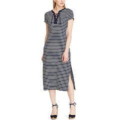 Women's Chaps Lace-Up Striped Midi Dress