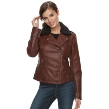 Women's Sebby Collection Sherpa Collar Faux-Leather Jacket