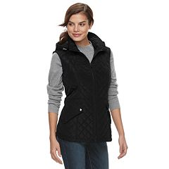 Women's Sebby Collection Hooded Long Quilted Vest