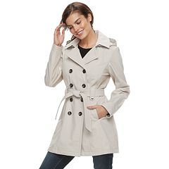 Women's Sebby Collection Double-Breasted Hooded Soft Shell Jacket
