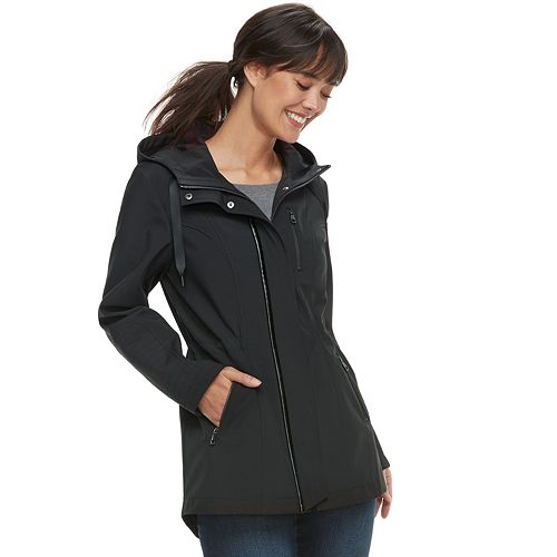 df373411141b0 Women s Sebby Collection Hooded Asymmetrical Soft Shell Jacket. Sale