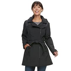 Women's Sebby Collection Hooded Asymmetrical Soft Shell Jacket