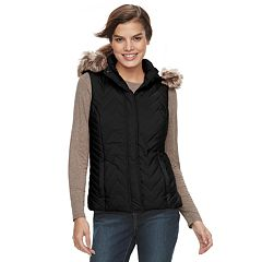 Women's Sebby Collection Hooded Chevron Puffer Vest