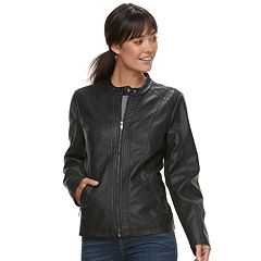 Women's Sebby Collection Faux-Leather Racing Jacket