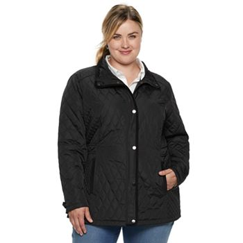 Plus Size Sebby Collection Quilted Barn Jacket