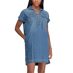 Women's Chaps Lace-Up Denim Shirt Dress