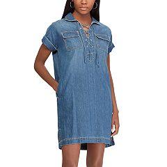 Women's Chaps Lace-Up Denim Shirt Dress