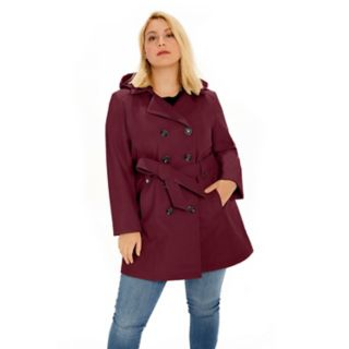Plus Size Sebby Collection Double-Breasted Hooded Soft Shell Jacket