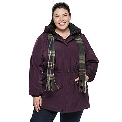 Plus Size Gallery Hooded Faux-Silk Anorak Jacket