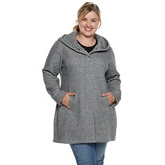 Plus Size Sebby Collection Hooded Fleece Jacket