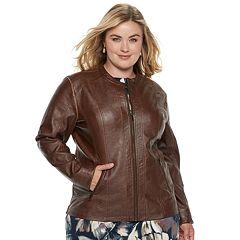 Plus Size Sebby Collection Faux-Leather Moto Jacket