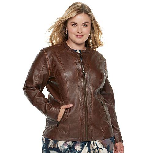 22c44719d5b Plus Size Sebby Collection Faux-Leather Moto Jacket