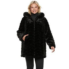 Plus Size Gallery Hooded Faux-Fur Jacket