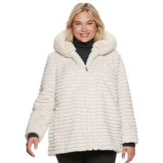 Plus Size Gallery Hooded Faux-Fur Jacket