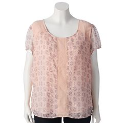 Plus Size LC Lauren Conrad Textured Dot Top