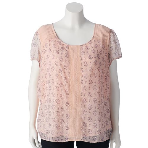 Plus Size LC Lauren Conrad Textured Dot Top