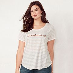 Plus Size LC Lauren Conrad Slubbed Graphic Tee