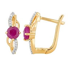 10k Gold Ruby & Diamond Accent Latch Back Earrings