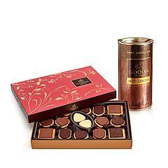 Godiva  Dark Chocolate Hot Cocoa & Chocolate Biscuit Gift Set