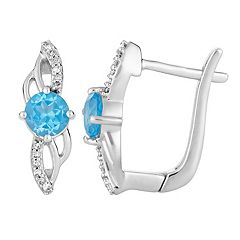 10k White Gold Swiss Blue Topaz & Diamond Accent Latch Back Earrings