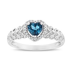 10k White Gold London Blue Topaz & Diamond Accent Heart Ring