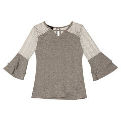 Girls 7-16 IZ Amy Byer Lace Shoulder Fuzzy Bell Sleeve Top
