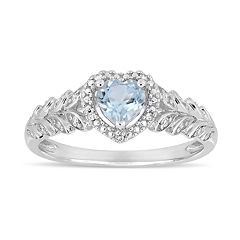 10k White Gold Sky Blue Topaz & Diamond Accent Heart Ring